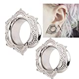 Usstore 1Pair Women's Men White Brass Tunnel Ear Stud Earrings Ornate Jewelry (8mm)