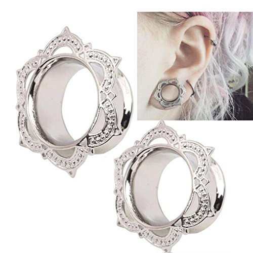 Sapphire Diamond Fish (Usstore 1Pair Women's Men White Brass Tunnel Ear Stud Earrings Ornate Jewelry (8mm))