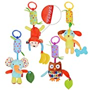 HAHA Baby Toys Soft Hanging Rattle Toy Infant Stroller Car Seat Crib Travel Activity Plush Animal Wind Chime with Teether for Boys Girls