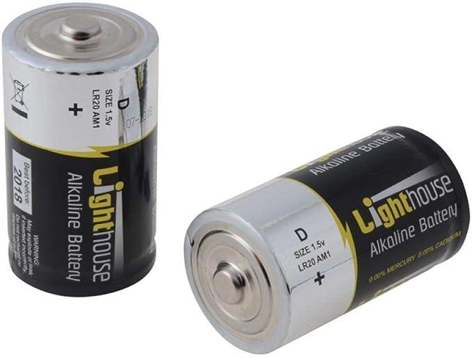 Lighthouse BATD Alkaline Batteries D LR20 14800mAh Pack of 2