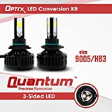 Optix LED Headlight Conversion Kit - High Beam 9005 HB3 Bulbs - 3-Sided COB - 80W 8000LM - 6000K 6K Cool White - 2pcs