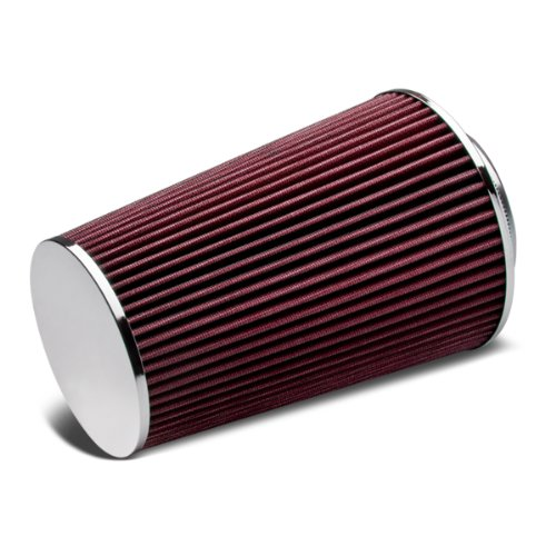 "3"" Inlet x 10"" Air Intake Chrome Closed Top Cone Air Filter (Red)"