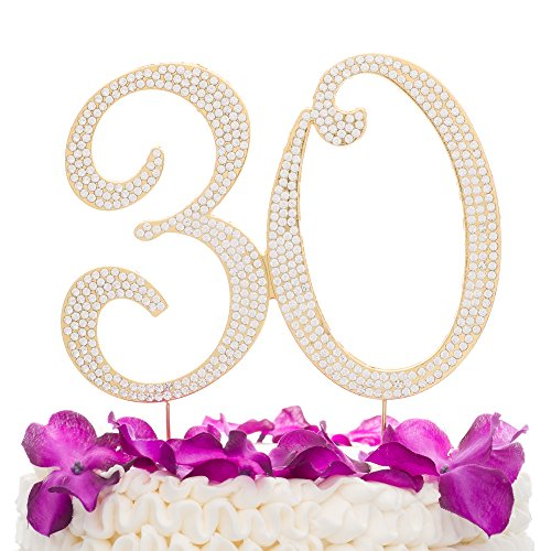 Ella Celebration 30 Cake Topper for 30th Birthday or Anniversary Gold Party Supplies & Decorations -