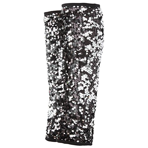 Dance Team Costumes Sequin (Gia-Mia Dance Big Girls' 2-Tone Sequin Leg Warmer Dance Jazz Costume Performance Team, Black, One Size)