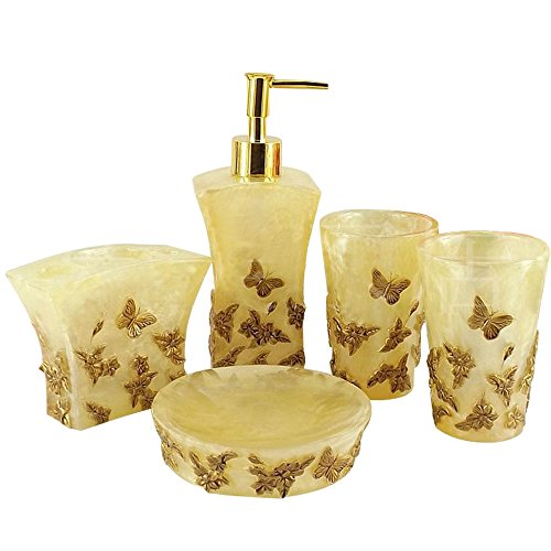 (Resin 3D Butterfly sculpture roses 5PC Bathroom Accessories Set Soap Dispenser/Toothbrush Holder/Tumbler/Soap Dish)