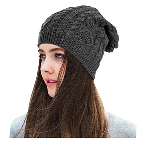Lamdgbway Slouchy Beanie Knit Stretch Braided Cable Warm Winter Hats Skip Cap Deep Grey