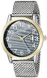 August Steiner AS8195SSG Men's Round Gray Mother of Pearl Dial Three Hand Quartz Bracelet Watch