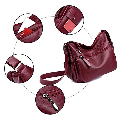for Leather Handbags Burgundy Bag Casual Soft Shoulder Ladies Daypack Women's Black Crossbody q8wtF1at