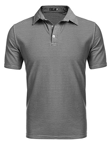 Coofandy Men's Mini Striped Short Sleeve Polo T Shirt,X-Large,Black
