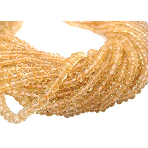 Be You 3-4mm Faceted Rondelle Natural Citrine Gemstone Beads 13