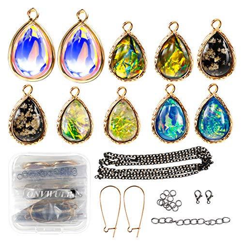 ONVWULR Inspirational Charms Bulk for Jewelry Making,Artificial Blue Fire Opal Necklace Charms and Pendants,Crystal Teardrop Pendants DIY for Bracelets Earrings and Crafting -