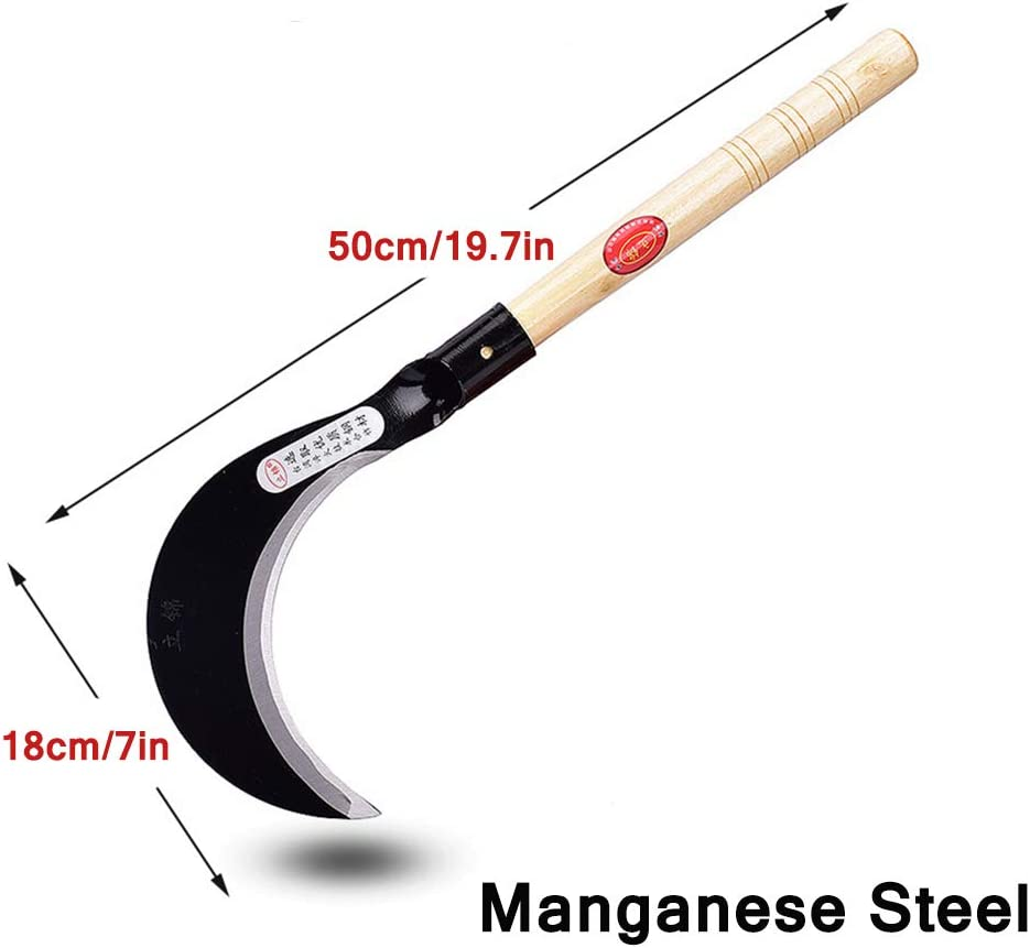 Hoz de Hierba de Mano para jardiner/ía con Mango de Madera Dura Z-fiber Hoz de deshierbe de Acero al manganeso japon/és