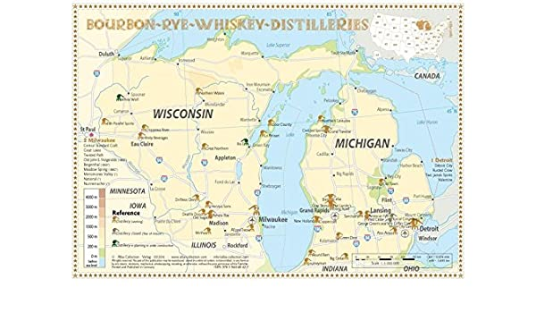 Michigan And Wisconsin Map.Bourbon Rye Whiskey Distilleries In Michigan Wisconsin Tasting Map