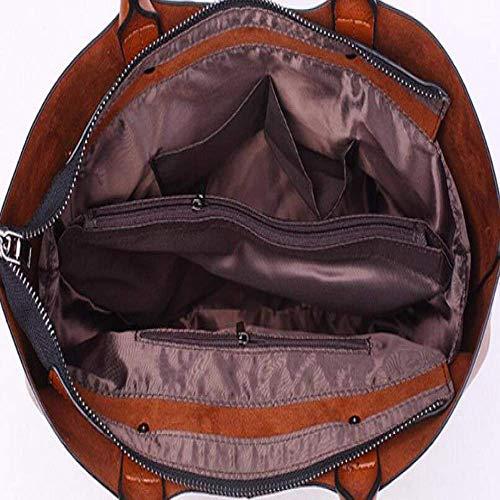 Bolso Tamaño 28cm Eeayyygch De Hombro Bolsos Mano Grande Del Capacidad La color Bolsa 40 13 Negro Piel Aceite Asas Gran Los Burgundy Bwgqgfdx
