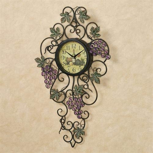 Touch of Class Vining Gems Grape Wall Clock Purple