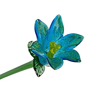 "Light Blue Glass Lily Flower, One-of-a-kind. Life Size 20"" long. FREE SHIPPING to the lower 48 when you spend over $35.00 5"