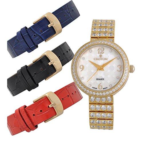 CROTON Women's Bracelet Set Quartz Watch with Stainless-Steel Strap, Gold, 13.83 (Model: CN207555YLMP)