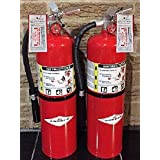(Lot of 2) Amerex 10 Lb. Type ABC Dry Chemical Fire Extinguishers, with 2 Certified Tag's, Ready For Fire Inspections/Wall Mounts Included