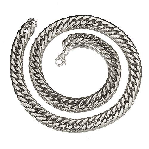 - Mens Stainless Steel Silver Tone 22 Inches 16MM Wide Large Heavy Curb Link Chain Necklace