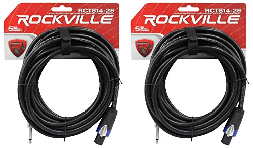 Speakon Plugs 25 Foot - 2 Rockville RCTS1425 25' 14 AWG 1/4