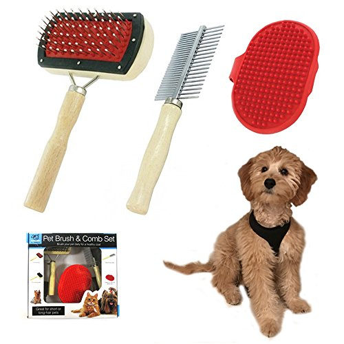Pet Brush Comb Set Dog Cat Pets Grooming Puppy Hair Massage Shedding Shower - Grooming Brush General