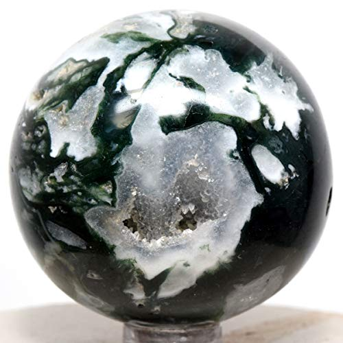 51mm Green White Moss Agate Sphere Natural Druzy Mineral Sparkling Crystal Polished Stone Ball - India + Stand