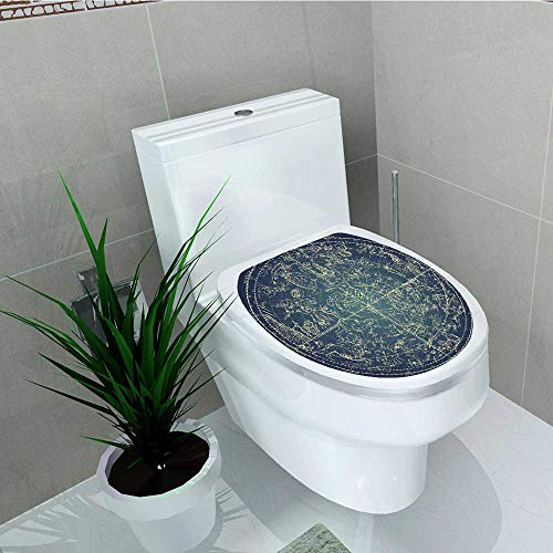 Philip C. Williams Decoration Bathroom Toilet Cover Sticker Chart of Northern Stars Sacred Astrology Dark Blue Yellow for Restroom Wall Decals W14 x L14 -