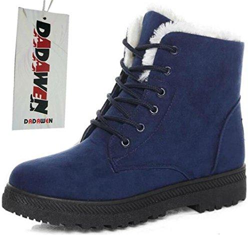 DADAWEN Damen Schneestiefel Mädchen Boots Warm Gefüttert Winterschuhe Wasserdicht Schnürstiefel Wildleder Boots Blau