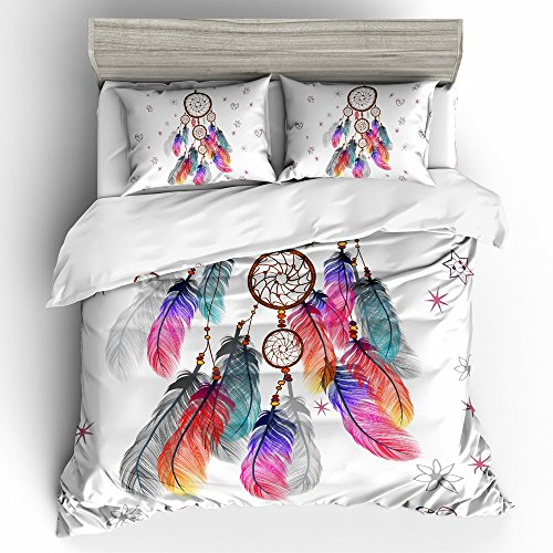 BOMCOM 3D Digital Printing Bohemian Tribal Fashion Dreamcatcher Feather Pastel Tones 3-Piece Duvet Cover Sets 100% Microfiber Boho Style White (Dreamcatcher & Colorful Feathers, - Group Willow Fashion