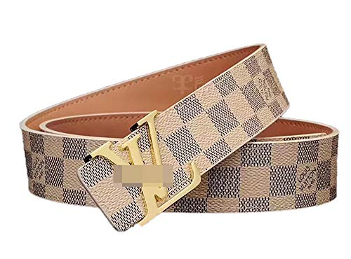 Gold Buckle Leather Unisex Fashion Belt for Men or Women Pants Jeans Shorts ~ 3.8cm Belt Width (White(gold buckle), 105cm Fit Waist 30