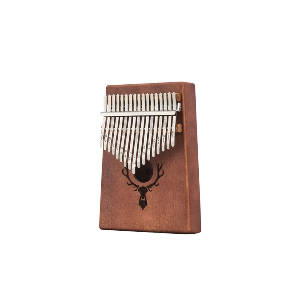 Youshangshipin Thumb piano, simple solid color 17-key thumb piano for music lovers and beginners (brown gifts: portable bag, conditioning hammer, cleaning cloth) Classical style (Color : 2)