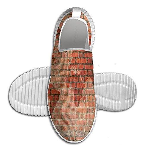 Mkajkkok Brick Wall With World Atlas Map Reflection Pattern Contemporary Artful Scene Lightweight Fitness Walking Shoes.