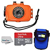 Intova Duo Waterproof HD POV Sports Video Action Camera With Compact Case + 32GB microSDHC UHS-I Card with Adapter + Clean Cloth (Orange)