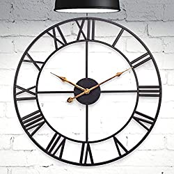 ComfortBuddy Wall-Clock 18inch Roman Numeral Large-Decorative Modern Clock for Home-Office Kitchen Living Room and Bedroom