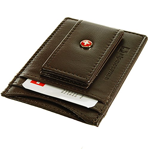 Alpine Swiss Mens Wallet Leather Money Clip Thin Slim Front Pocket Wallet DK. Brown