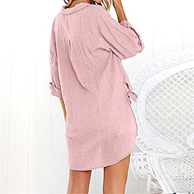 HJuyYuah Womens Loose Button Long Shirt Dress Cotton Ladies Casual Tops T-Shirt Blouse: Clothing