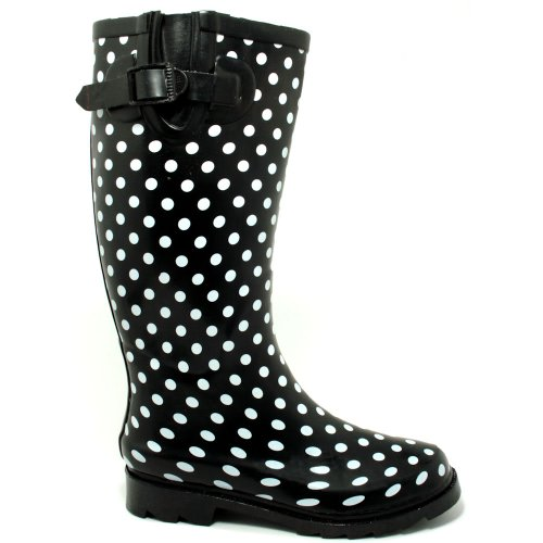 Spylovebuy KARLIE Flat Festival Wellies Wellington Knee High Rain Boots Black Spot