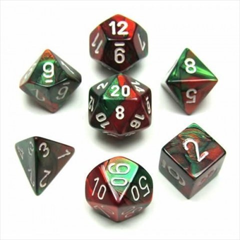 Chessex Manufacturing 26431 Cube Gemini Set Of 7 Dice  Green & Red With White Numbering by Chessex