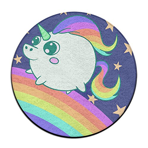 Waterproof Cute Unicorn Round Splash Splat Mat For Under High Chair Floor Protector Cover 23.6