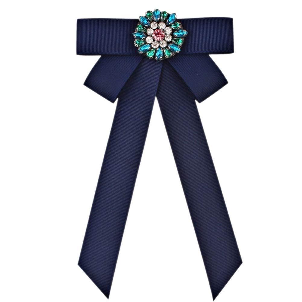 yanbirdfx Vintage Women Rhinestones Faux Pearl Collar Bow Tie Necktie Brooch Pin Jewelry - 1# Blue