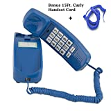 Easiest Hearing Impaired Senior & Elderly Phone w/Strobe Flash - Cool Trimline Princess Telephone is Lightweight w/Big Lit Buttons Making Dialing Easy - Classic Blue -BONUS/15 FT Matching Handset Cord