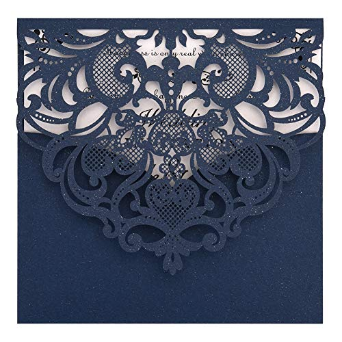 Navy Blue Laser Cut Invitations 50 Pack FOMTOR Laser Cut Wedding Invitations Card Kit with Blank Printable Paper and Envelopes for Wedding,Birthday Parties,Baby Shower -