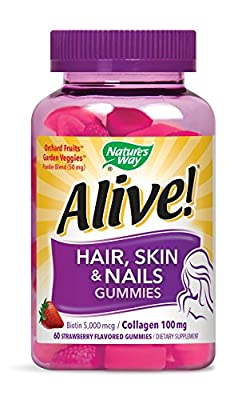 Nature's Way Alive Hair, Skin & Nails Advanced Beauty Formula, Strawberry Gummies, 60 Count