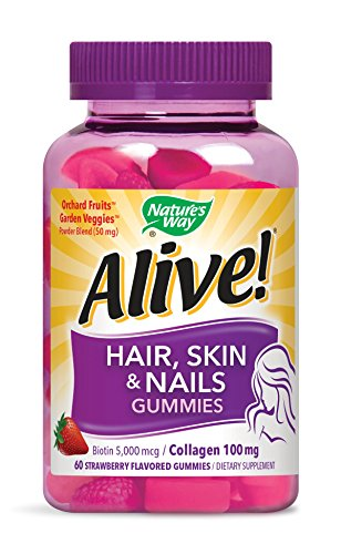 Nature's Way Alive! Hair, Skin & Nail Advanced Beauty Formula Gummy, 60 Strawberry Flavored Gummies