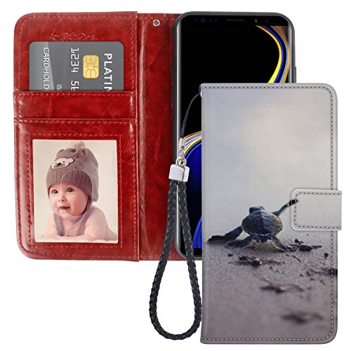 (Baby Turtle Samsung Galaxy Note 9 Wallet Case PU Leather Cover and TPU Protective Phone case with Card Holder Magnetic Folio Flip Samsung Galaxy Note 9 Case Wallet)