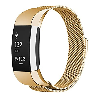 "Oitom Fitbit Charge 2 Bands,(2 Size) Large 6.7""-9.3"" Small 5.1""-6.7"" (8 Color) Silver Black Rose Gold Pink Blue Brown Rainbow"