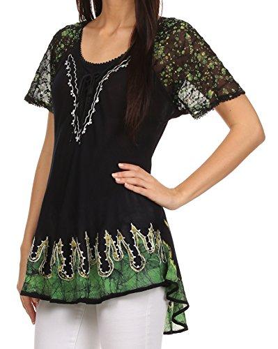 Cora Vert relax coupe brode Sakkas mancherons haut chemisier batik motif Noir EvqwUPw