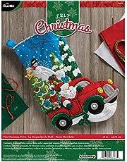 Bucilla 86663 Felt Applique Stocking Kit, The Christmas Drive, Size 18-Inch
