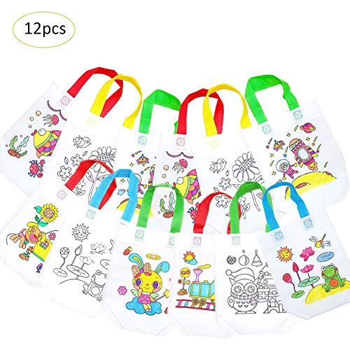 12PCS DIY Environmental Protection Colorful Bags Coloring Graffiti Non-Woven Bag Hand-Made Coloring Painting Materials Pack for Children, 20x37cm