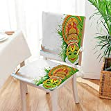 Mikihome Beautiful Chair Cushion Indian Asian Ceremonial Dance Figure and Boat on River Illustration Green and White Indoor and Outdoor Cushion Mat:W17 x H17/Backrest:W17 x H36